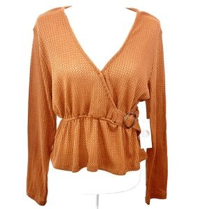NWT Passport sz L faux wrap belted rust orange top
